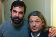 Richard Herring's Leicester Square Theatre Podcast. Image shows from L to R: Rob Delaney, Richard Herring.