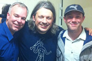 Richard Herring's Leicester Square Theatre Podcast. Image shows from L to R: Steve Pemberton, Richard Herring, Reece Shearsmith.