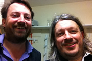 Richard Herring's Leicester Square Theatre Podcast. Image shows from L to R: David Mitchell, Richard Herring.