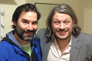 Richard Herring's Leicester Square Theatre Podcast. Image shows from L to R: Adam Buxton, Richard Herring.