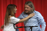 Richard Herring's Leicester Square Theatre Podcast. Image shows from L to R: Shappi Khorsandi, Richard Herring.