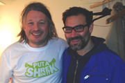 Richard Herring's Leicester Square Theatre Podcast. Image shows from L to R: Richard Herring, Adam Buxton.