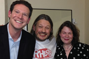 Richard Herring's Leicester Square Theatre Podcast. Image shows from L to R: Olly Mann, Richard Herring, Helen Zaltzman.