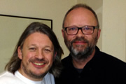 Richard Herring's Leicester Square Theatre Podcast. Image shows from L to R: Richard Herring, Robert Llewellyn.