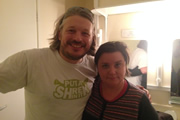 Richard Herring's Leicester Square Theatre Podcast. Image shows from L to R: Richard Herring, Susan Calman.