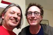 Richard Herring's Leicester Square Theatre Podcast. Image shows from L to R: Richard Herring, Jon Ronson.
