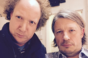Richard Herring's Leicester Square Theatre Podcast. Image shows from L to R: Andy Zaltzman, Richard Herring.