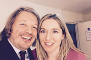 Richard Herring's Leicester Square Theatre Podcast. Image shows from L to R: Richard Herring, Victoria Coren Mitchell.