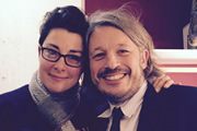 Richard Herring's Leicester Square Theatre Podcast. Image shows from L to R: Sue Perkins, Richard Herring.