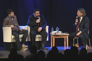 Richard Herring's Leicester Square Theatre Podcast. Image shows from L to R: Trevor Lock, Paul Putner, Richard Herring.