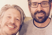Richard Herring's Leicester Square Theatre Podcast. Image shows from L to R: Richard Herring, Louis Theroux.