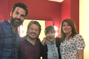 Richard Herring's Leicester Square Theatre Podcast. Image shows from L to R: Rob Delaney, Richard Herring, Jessica Hynes, Sharon Horgan.
