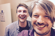 Richard Herring's Leicester Square Theatre Podcast. Image shows from L to R: Joe Lycett, Richard Herring.