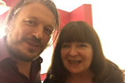 Richard Herring's Leicester Square Theatre Podcast. Image shows from L to R: Richard Herring, Janey Godley.