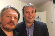 Richard Herring's Leicester Square Theatre Podcast. Image shows from L to R: Richard Herring, John Finnemore.
