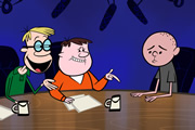 The Ricky Gervais Show. Image shows from L to R: Stephen Merchant, Ricky Gervais, Karl Pilkington. Image credit: Media Rights Capital.