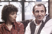 Rising Damp. Image shows from L to R: Ruth Jones (Frances de la Tour), Rupert Rigsby (Leonard Rossiter). Image credit: Yorkshire Television.