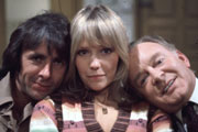 Robin's Nest. Image shows from L to R: Robin Tripp (Richard O'Sullivan), Vicky (Tessa Wyatt), James Nicholls (Tony Britton). Copyright: Thames Television.