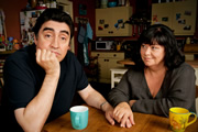 Roger & Val Have Just Got In. Image shows from L to R: Roger Stevenson (Alfred Molina), Val Stevenson (Dawn French). Copyright: BBC.