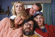 The Royle Family Portraits. Image shows from L to R: Caroline Aherne, Sue Johnston, Craig Cash, Ricky Tomlinson, Ralf Little. Copyright: Jellylegs.
