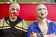 The Rubberbandits. Image shows from L to R: Blindboy Boat Club (Dave Chambers), Mr Chrome (Bob McGlynn). Image credit: Sideline Productions.