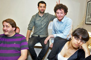 Seekers. Image shows from L to R: Terry (Tony Way), Joe (Daniel Mays), Stuart (Mathew Horne), Nicola (Zahra Ahmadi). Copyright: BBC.