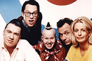 Shooting Stars. Image shows from L to R: Mark Lamarr, Vic Reeves, George Dawes (Matt Lucas), Bob Mortimer, Ulrika Jonsson. Copyright: Channel X / Pett Productions.