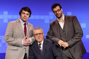 A Short History Of Everything Else. Image shows from L to R: Charlie Baker, Griff Rhys Jones, Marcus Brigstocke. Copyright: Twofour.