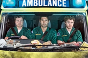 Sirens. Image shows from L to R: Stuart Bayldon (Rhys Thomas), Rachid Mansaur (Kayvan Novak), Ashley Greenwick (Richard Madden). Image credit: Daybreak Pictures.