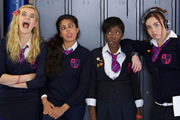 Some Girls. Image shows from L to R: Amber (Alice Felgate), Saz (Mandeep Dhillon), Viva (Adelayo Adedayo), Holli (Natasha Jonas). Image credit: Hat Trick Productions.