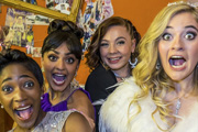 Some Girls. Image shows from L to R: Viva (Adelayo Adedayo), Saz (Mandeep Dhillon), Holli (Natasha Jonas), Amber (Alice Felgate). Image credit: Hat Trick Productions.