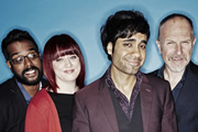 Stand Up For The Week. Image shows from L to R: Romesh Ranganathan, Angela Barnes, Paul Chowdhry, Simon Evans. Copyright: Open Mike Productions.