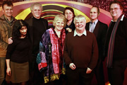 Stand-Up With The Stars. Image shows from L to R: Hugh Dennis, Shappi Khorsandi, Laurie Taylor, Libby Purves, Milton Jones, Peter White, Evan Davis, Paul Merton. Image credit: British Broadcasting Corporation.