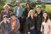 Starlings. Image shows from L to R: Grandad (Alan Williams), Charlie (Finn Atkins), Gravy (John Dagleish), Fergie (Steve Edge), Uncle Loz (Matt King), Jan (Lesley Sharp), Terry (Brendan Coyle), Bell (Rebecca Night). Copyright: Baby Cow Productions.
