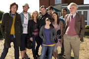 Starlings. Image shows from L to R: Uncle Loz (Matt King), Fergie (Steve Edge), Jan (Lesley Sharp), Terry (Brendan Coyle), Charlie (Finn Atkins), Gravy (John Dagleish), Bell (Rebecca Night), Reuben (Ukweli Roach), Grandad (Alan Williams). Copyright: Baby Cow Productions.