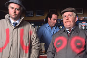 Still Game. Image shows from L to R: Victor McDade (Greg Hemphill), Jack Jarvis (Ford Kiernan). Image credit: The Comedy Unit.