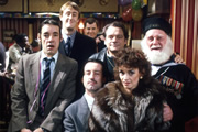 Only Fools And Horses. Image shows from L to R: Trigger (Roger Lloyd-Pack), Rodney (Nicholas Lyndhurst), Mike (Kenneth MacDonald), Trigger (Roger Lloyd-Pack), Del (David Jason), Marlene (Sue Holderness), Uncle Albert (Buster Merryfield).