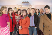 Sugartown. Image shows from L to R: Emily Shirley (Miranda Raison), Sam (Sally Dexter), Carmen (Georgia King), Travis (Rob Kendrick), Margery (Sue Johnston), Ron (Philip Jackson), Jason Burr (Shaun Dooley), Anne (Juliet Cowan), Michael (Paul J Medford), Max Burr (Tom Ellis). Image credit: Shed Productions.