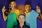 Sweat The Small Stuff. Image shows from L to R: Rochelle Humes, Nick Grimshaw, Melvin Odoom. Copyright: Talkback.