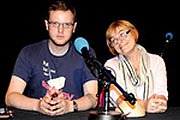 Swots. Image shows from L to R: Miles Jupp, Susan Morrison. Copyright: BBC.