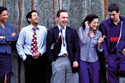 Teachers. Image shows from L to R: Jenny Page (Nina Sosanya), Kurt McKenna (Navin Chowdhry), Simon Casey (Andrew Lincoln), Susan Gately (Raquel Cassidy), Brian Steadman (Adrian Bower). Image credit: Tiger Aspect Productions.