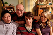 Teenage Kicks. Image shows from L to R: David (Jonathan Chan-Pensley), Vernon (Adrian Edmondson), Max (Ed Coleman), Milly (Laura Aikman). Image credit: Phil McIntyre Entertainment.