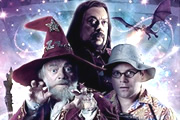 Terry Pratchett's The Colour Of Magic. Image shows from L to R: Rincewind (David Jason), Trymon (Tim Curry), Twoflower (Sean Astin). Copyright: The Mob Film Co.