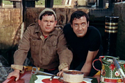 The Bargee. Image shows from L to R: Ronnie (Ronnie Barker), Hemel Pike (Harry H. Corbett). Image credit: Associated British Picture Corporation.