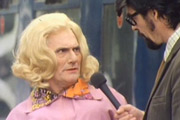 The Dick Emery Show. Image shows from L to R: Dick Emery, Interviewer (Gordon Clyde). Copyright: BBC.