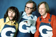 The Goodies. Image shows from L to R: Bill (Bill Oddie), Graeme (Graeme Garden), Tim (Tim Brooke-Taylor). Copyright: BBC / London Weekend Television.