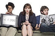 The IT Crowd. Image shows from L to R: Moss (Richard Ayoade), Jen (Katherine Parkinson), Roy (Chris O'Dowd). Copyright: TalkbackThames.