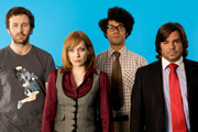 The IT Crowd. Image shows from L to R: Roy (Chris O'Dowd), Jen (Katherine Parkinson), Moss (Richard Ayoade), Douglas Reynholm (Matt Berry). Copyright: TalkbackThames.