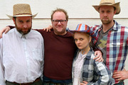 The Kneebone Bonanza. Image shows from L to R: Dwight (Ed Gaughan), Carl Grose, Maddy (Alex Tregear), Slick (Michael Shelford). Copyright: BBC.