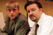 The Office. Image shows from L to R: Gareth Keenan (Mackenzie Crook), David Brent (Ricky Gervais). Image credit: British Broadcasting Corporation.